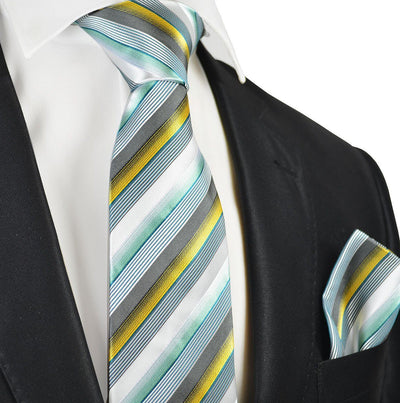 Sea Foam Green Striped Tie and Pocket Square Set Paul Malone Ties - Paul Malone.com