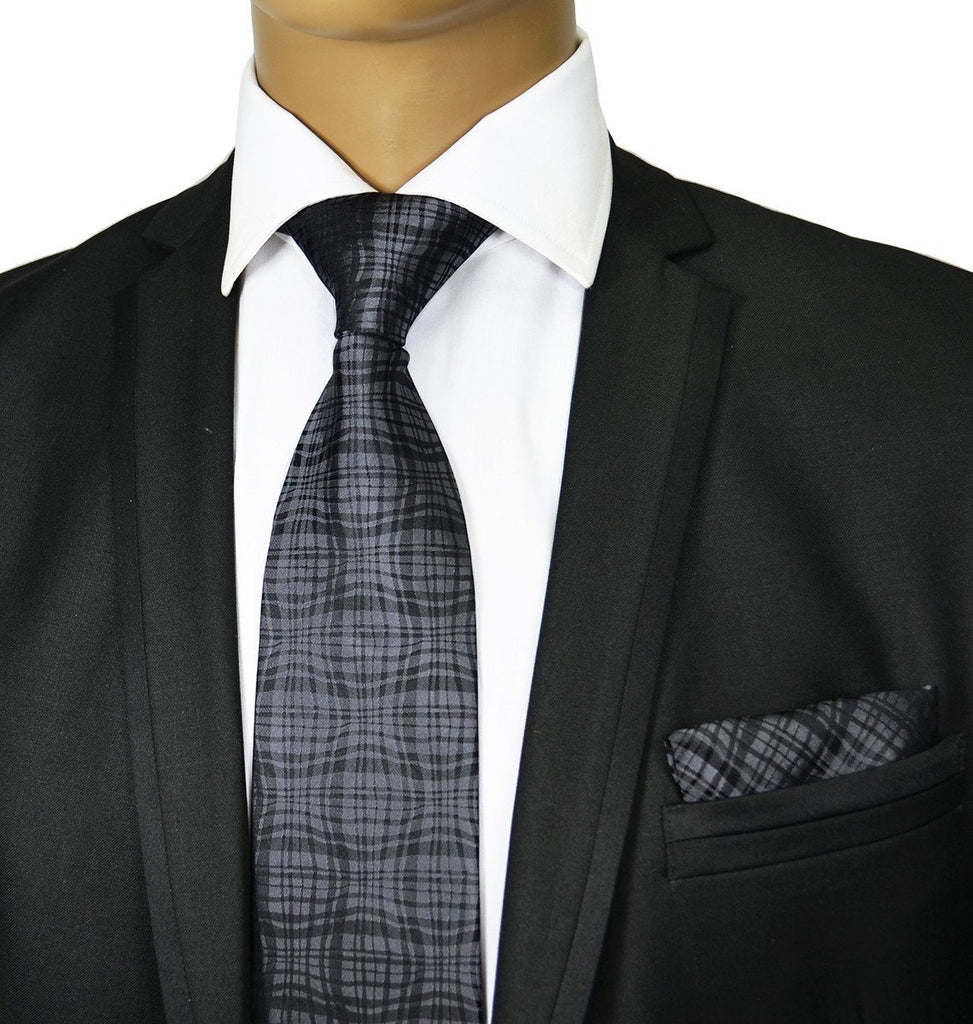 Grey Silk Tie and Pocket Square Paul Malone Ties - Paul Malone.com