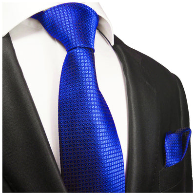 Royal Blue Silk Tie and Pocket Square Paul Malone Ties - Paul Malone.com