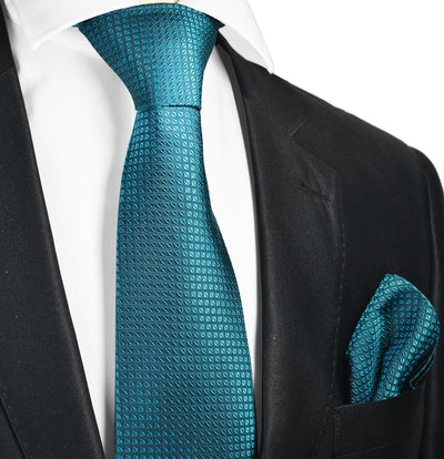 Colonial Blue Silk Tie and Pocket Square Paul Malone Ties - Paul Malone.com