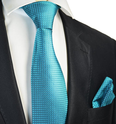 Turquoise Silk Tie and Pocket Square Paul Malone Ties - Paul Malone.com