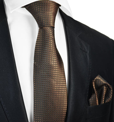 Brown Silk Tie and Pocket Square Paul Malone Ties - Paul Malone.com