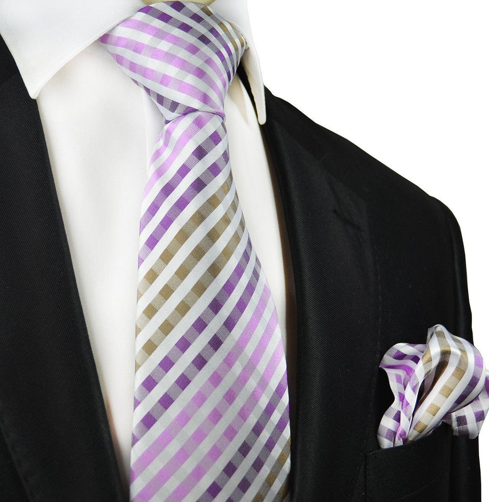 Purple and Brown Silk Tie and Pocket Square Paul Malone Ties - Paul Malone.com