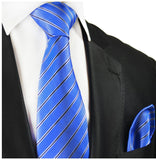 Blue Striped Silk Tie and Pocket Square Paul Malone Ties - Paul Malone.com