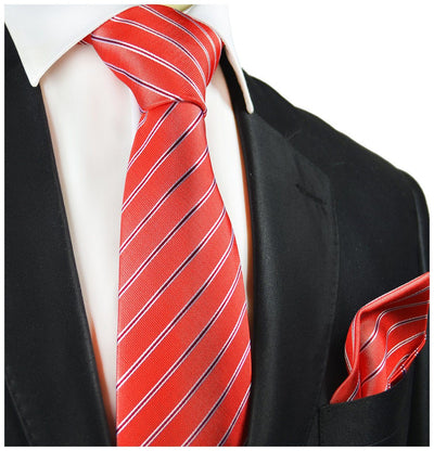 Red Striped Silk Tie and Pocket Square Paul Malone Ties - Paul Malone.com