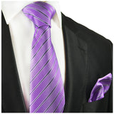 Purple Striped Silk Tie and Pocket Square Paul Malone Ties - Paul Malone.com