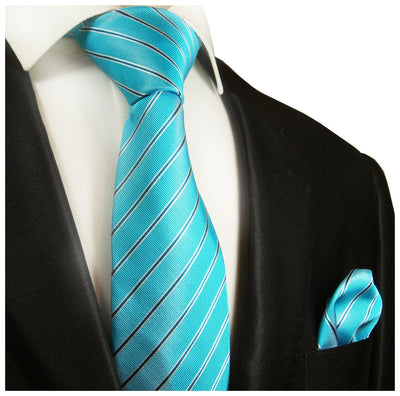 Turquoise Striped Paul Malone Silk Tie Set Paul Malone Ties - Paul Malone.com