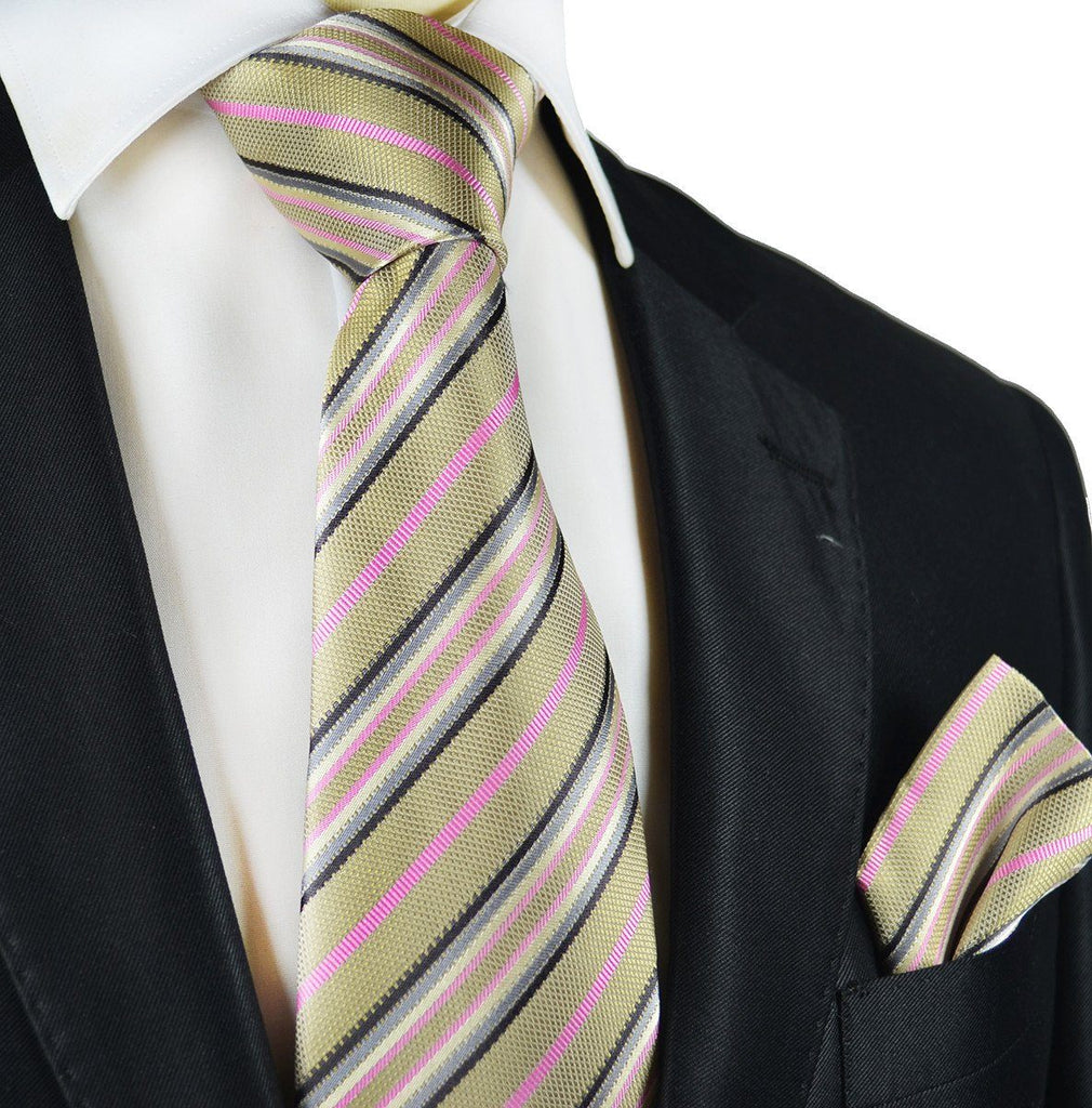 Gold and Pink Striped Silk Tie and Pocket Square Paul Malone Ties - Paul Malone.com