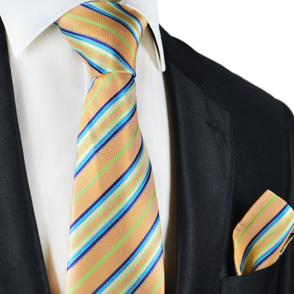 Peach Cobbler Striped Silk Tie and Pocket Square Paul Malone Ties - Paul Malone.com