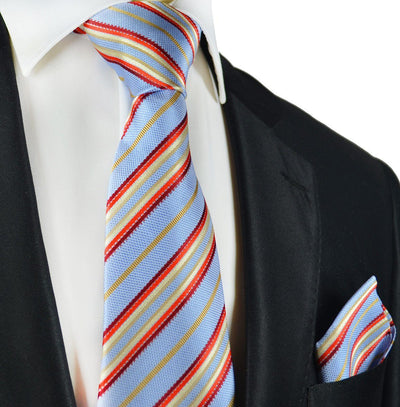 Blue and Red Striped Silk Tie and Pocket Square Paul Malone Ties - Paul Malone.com