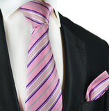 Pink and Purple Striped Silk Tie and Pocket Square Paul Malone Ties - Paul Malone.com