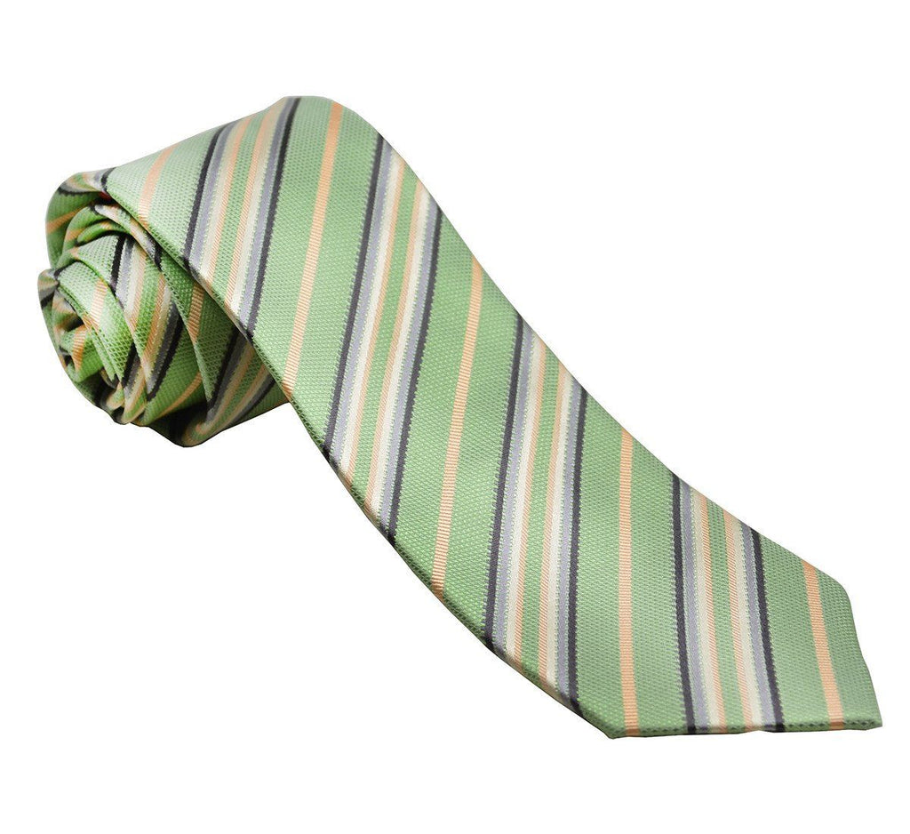Green Striped Silk Tie and Pocket Square Paul Malone Ties - Paul Malone.com