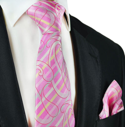 Pink Silk Tie and Pocket Square Paul Malone Ties - Paul Malone.com