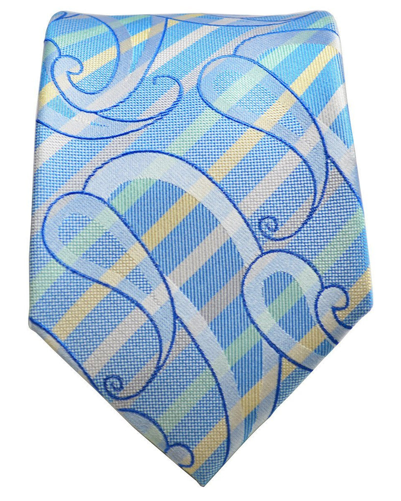 Aquamarine Striped Silk Tie and Pocket Square