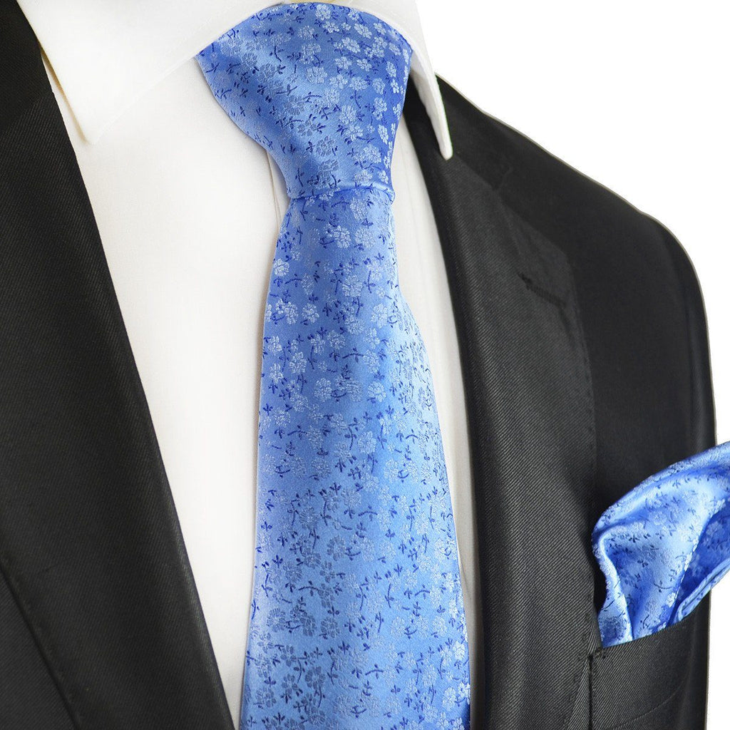 Blue Floral Silk Tie and Pocket Square Paul Malone Ties - Paul Malone.com