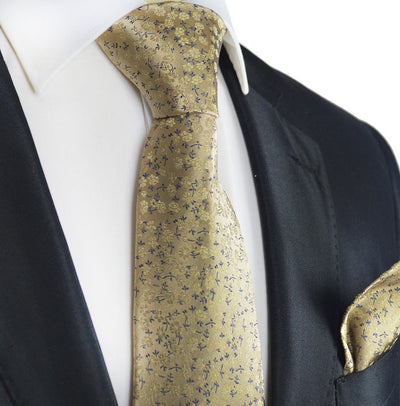 Warm Sand Floral Silk Tie and Pocket Square Paul Malone Ties - Paul Malone.com