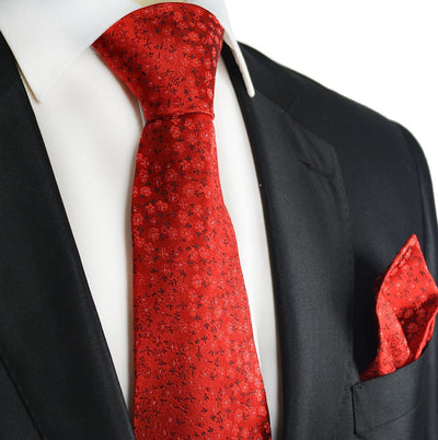 Red Floral Silk Tie and Pocket Square Paul Malone Ties - Paul Malone.com