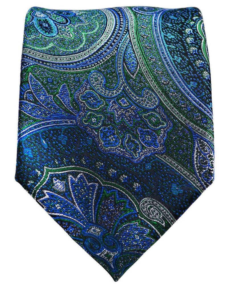 Galapagos Green and Blue Silk Tie Set by Paul Malone Paul Malone Ties - Paul Malone.com