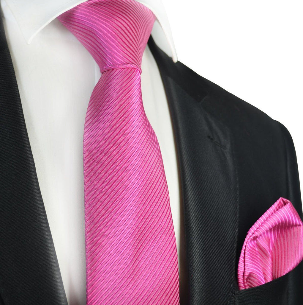 Solid Pink 7-fold Silk Tie and Pocket Square Paul Malone Ties - Paul Malone.com