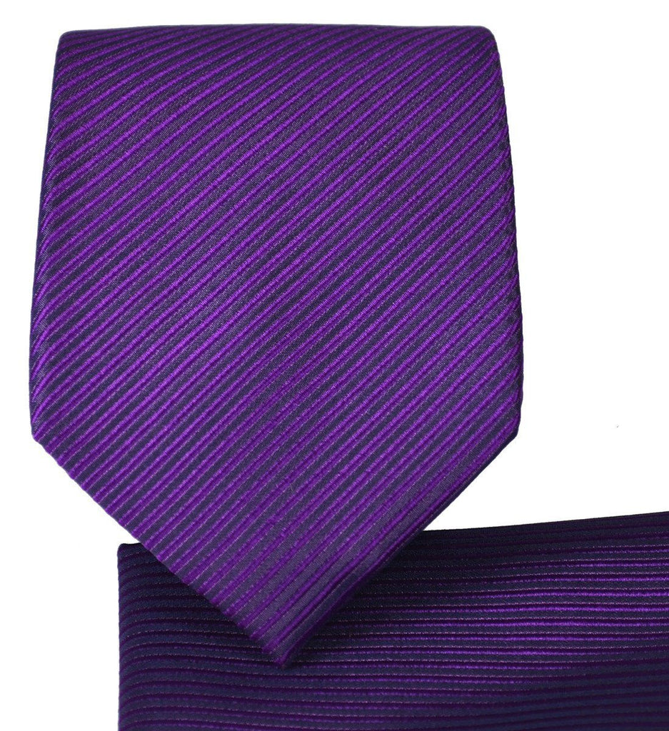 Solid Purple 7-fold Silk Tie and Pocket Square Paul Malone Ties - Paul Malone.com