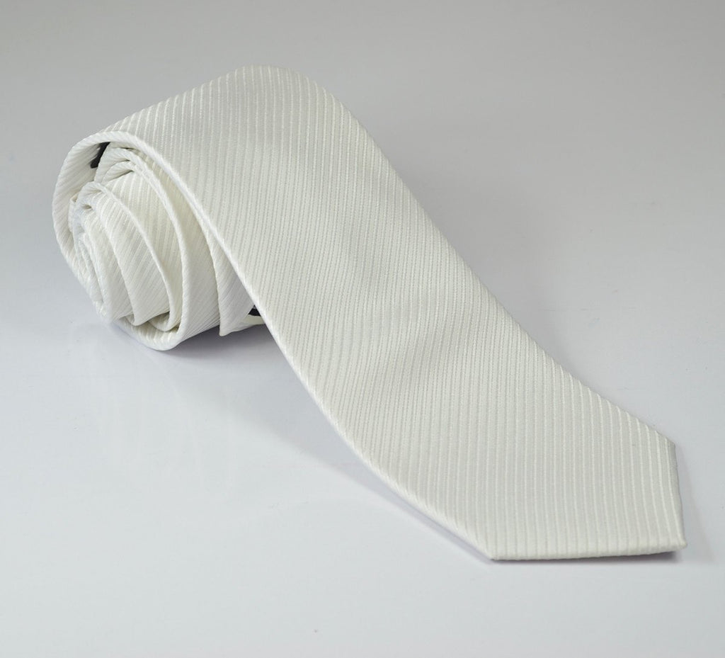 Solid White 7-fold Silk Tie and Pocket Square Paul Malone Ties - Paul Malone.com
