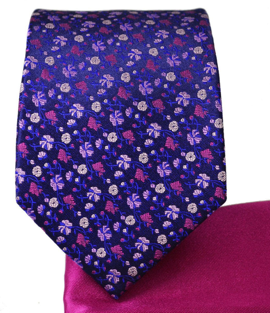 Mood Indigo and Violet 7-fold Silk Tie and Pocket Square Paul Malone Ties - Paul Malone.com