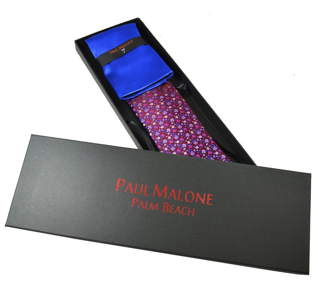 Windsor Wine and Royal Blue 7-fold Silk Tie and Pocket Square Paul Malone Ties - Paul Malone.com