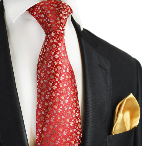 Red Paisley 7-fold Silk Tie and Pocket Square