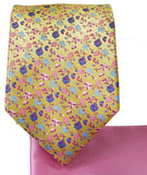 Gold and Pink 7-fold Silk Tie and Pocket Square Paul Malone Ties - Paul Malone.com