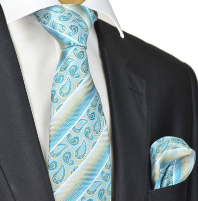 Turquoise and Champagne Paisley Silk Tie and Pocket Square Paul Malone Ties - Paul Malone.com