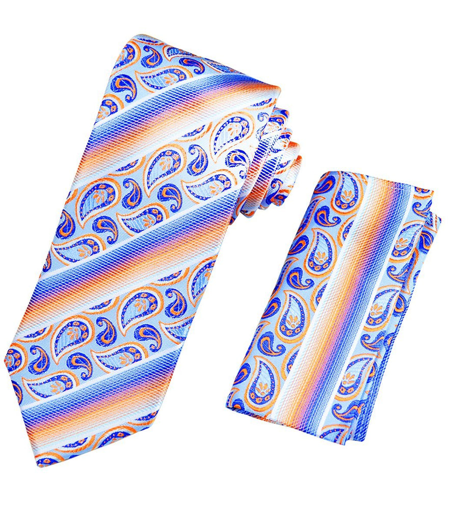 Blue and Orange Striped Silk Tie and Pocket Square Paul Malone Ties - Paul Malone.com