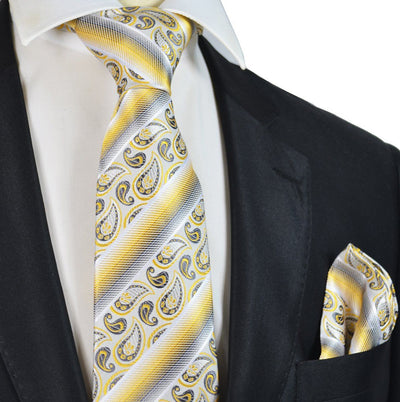 Yellow Paisley and Striped Silk Tie and Pocket Square Paul Malone Ties - Paul Malone.com