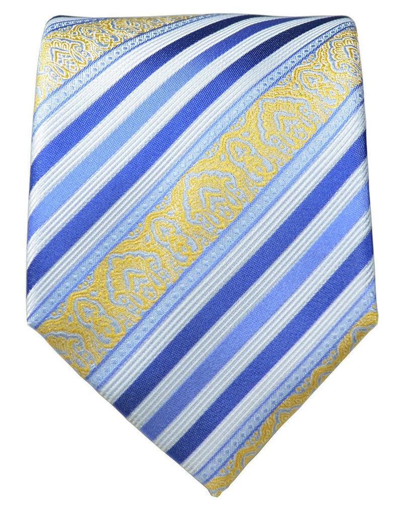 Blue and Gold Striped Silk Tie and Pocket Square Paul Malone Ties - Paul Malone.com