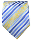 Blue and Gold Striped Silk Tie and Pocket Square Ties Paul Malone