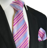 Pink and Sky Blue Silk Tie and Pocket Square Paul Malone Ties - Paul Malone.com