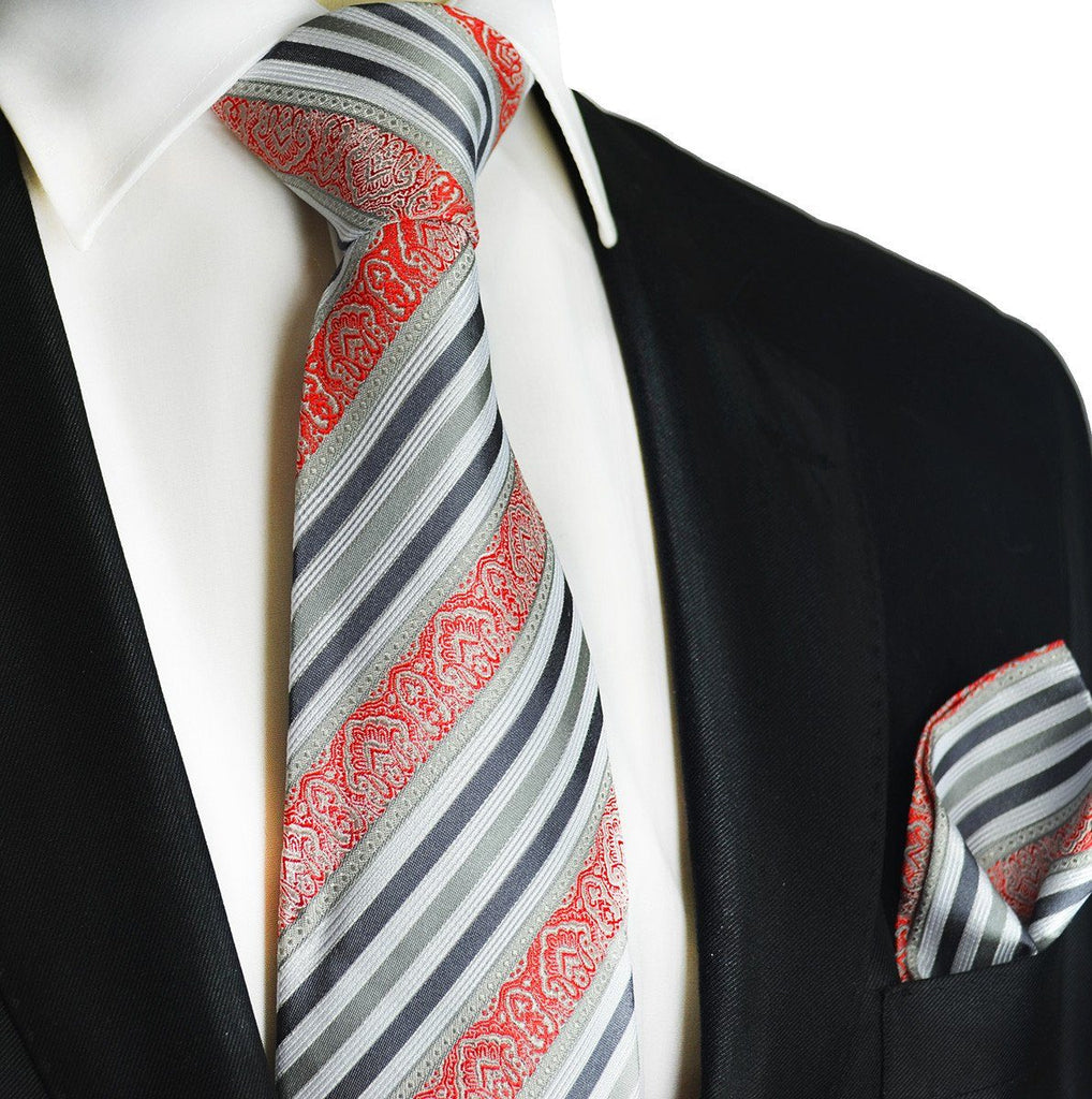 Gray and Red Striped Silk Tie and Pocket Square Paul Malone Ties - Paul Malone.com