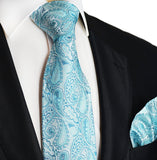 Blue Glass Paisley Silk Tie and Pocket Square Paul Malone Ties - Paul Malone.com