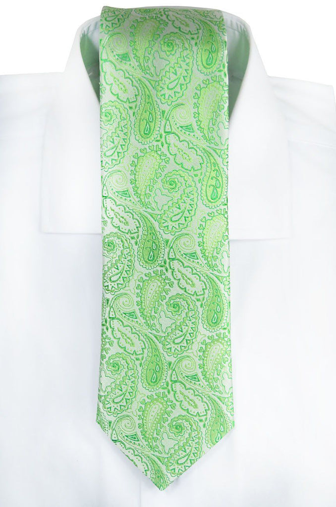 Green Paisley Silk Tie Set and Pocket Square Paul Malone Ties - Paul Malone.com