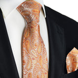 Orange Paisley Silk Tie and Pocket Square Paul Malone Ties - Paul Malone.com