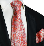 Red Paisley Silk Tie and Pocket Square Paul Malone Ties - Paul Malone.com