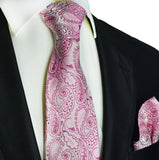Sweet Lilac Paisley Silk Tie and Pocket Square Paul Malone Ties - Paul Malone.com