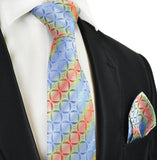 Blue Rainbow Silk Tie and Pocket Square Set Paul Malone Ties - Paul Malone.com