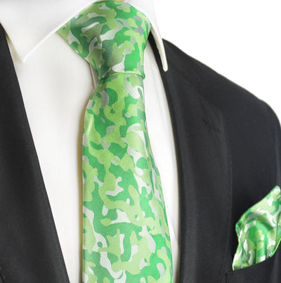 Kelly Green Camouflage Silk Tie and Pocket Square Paul Malone Ties - Paul Malone.com