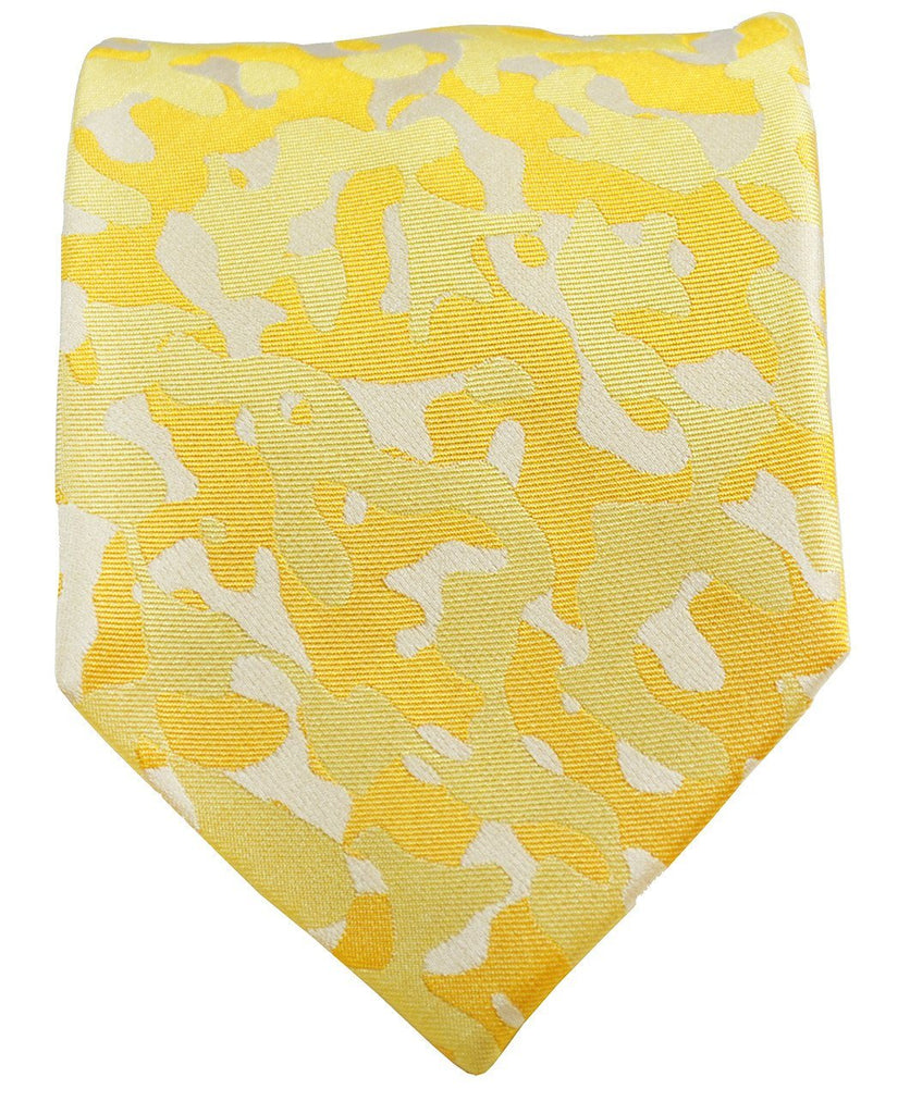 Yellow Camouflage Silk Tie and Pocket Square Paul Malone Ties - Paul Malone.com