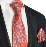 Red Camouflage Silk Tie and Pocket Square Paul Malone Ties - Paul Malone.com
