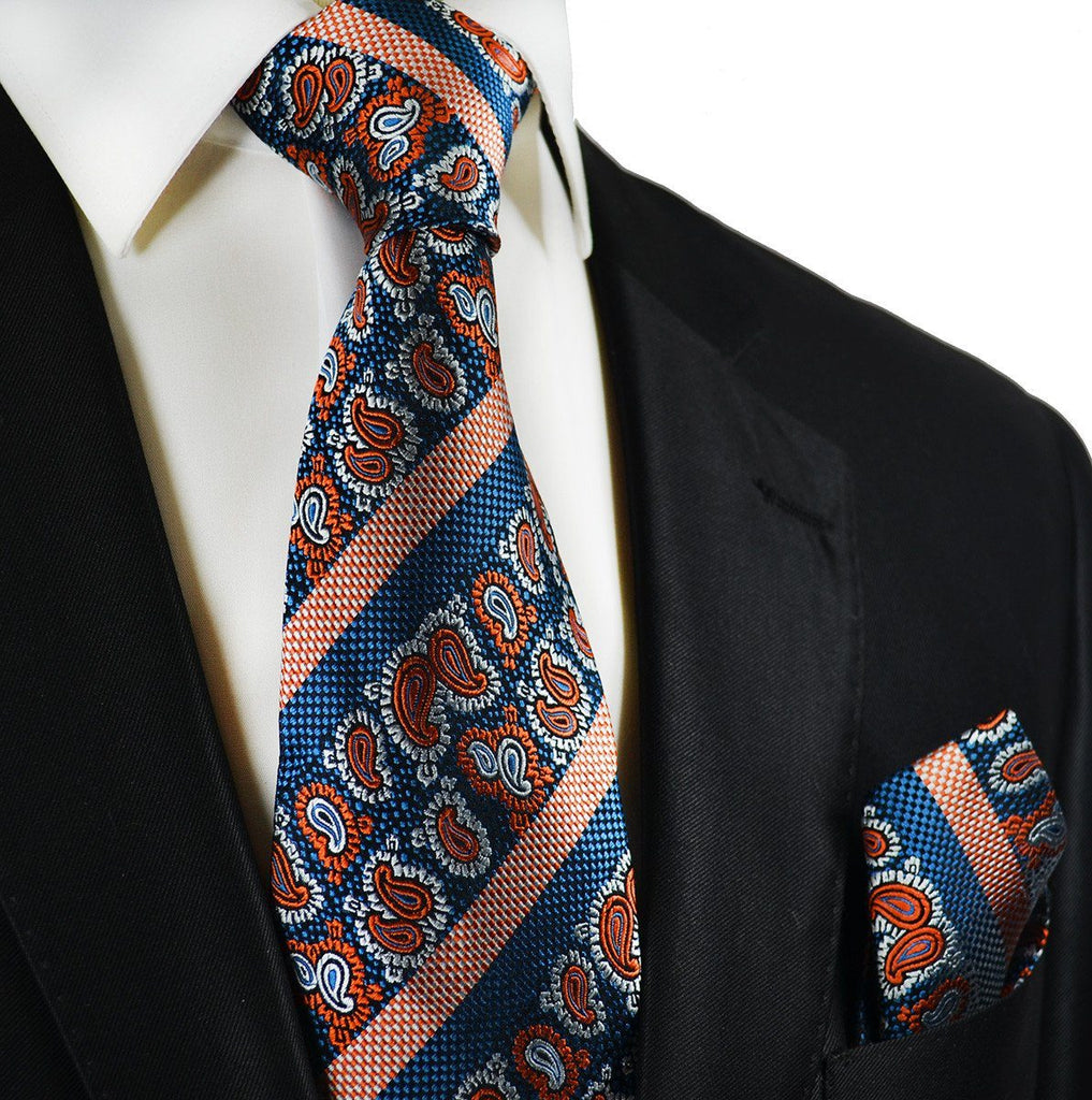 Blue and Orange Silk Tie and Pocket Square Ties Paul Malone