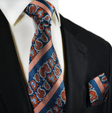 Blue and Orange Silk Tie and Pocket Square Paul Malone Ties - Paul Malone.com