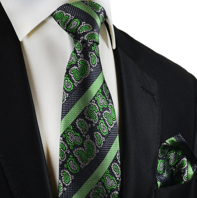 Green and Black Silk Tie and Pocket Square Paul Malone Ties - Paul Malone.com