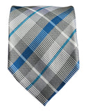 Blue and Silver Silk Tie and Pocket Square Paul Malone Ties - Paul Malone.com