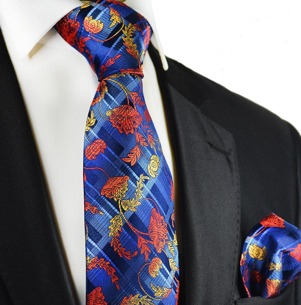 Red on Blue Silk Tie and Pocket Square Paul Malone Ties - Paul Malone.com